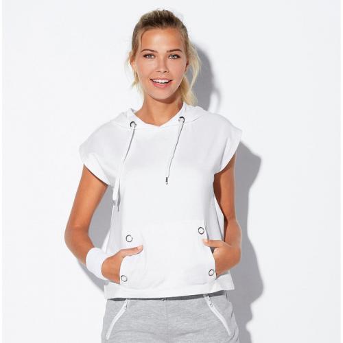 b8aa3ba23f3 3 SUISSES - Sweat sans manches à capuche et poche devant femme - Blanc -  Vêtements
