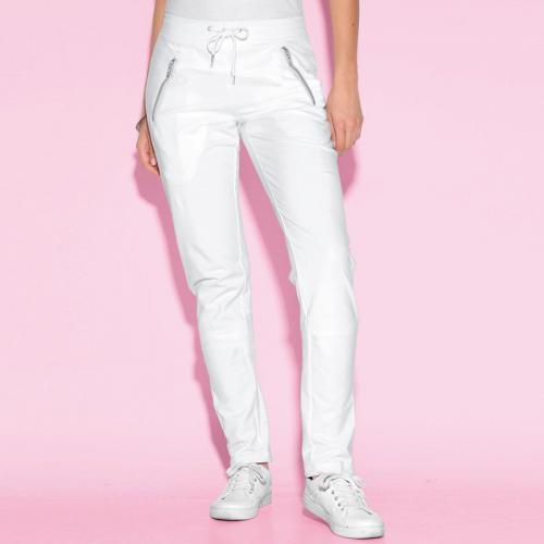 3 SUISSES - Pantalon taille élastique bas avec pressions femme Exclusivité  3SUISSES - Blanc - Pantalons b5155fd4b3a