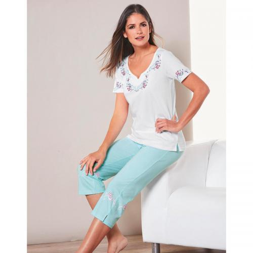 3 SUISSES - Pyjama tee-shirt manches courtes et corsaire femme Exclusivité  3SUISSES - Blanc dec3c480fe1