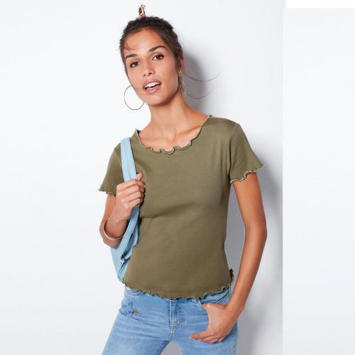 3 SUISSES - Tee-shirt manches courtes baby overlock femme - Kaki - Promotions Femme