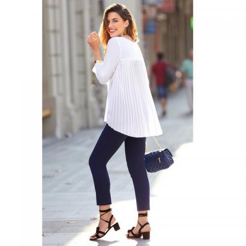 e5889681bb55c 3 Suisses - Pantalon uni poches et pinces femme Exclusivité 3SUISSES - Bleu  Marine - Pantalons