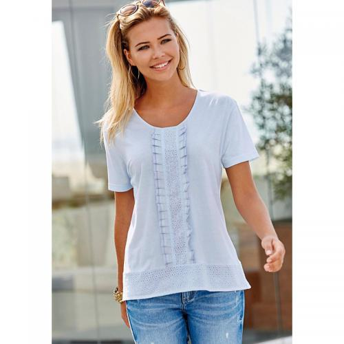 3 SUISSES - Tee-shirt manches courtes broderie suisse femme - Bleu - T-shirts manches courtes femme