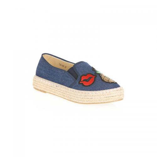 ed4b8f0c23e 3 SUISSES - Espadrilles avec broderie et sequins femme - Blue Denim - Chaussures  femme