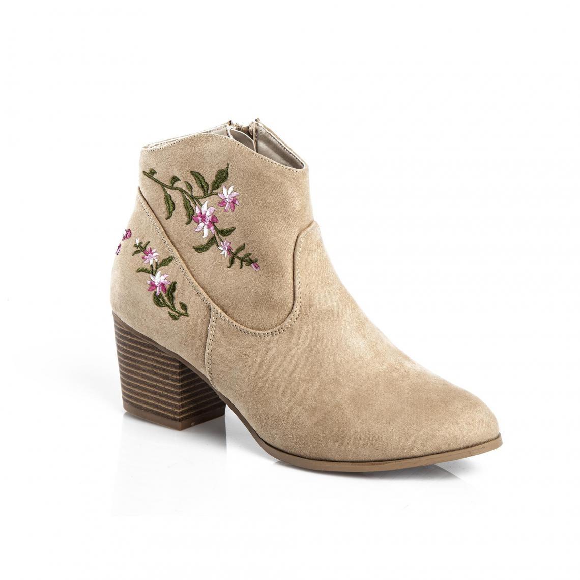 Bottines broderie florale et zip latéral femme - Sable