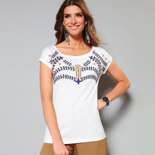 81a6e692c3ee 3 SUISSES - Tee-shirt avec imprimé manches courtes femme - Blanc - T-