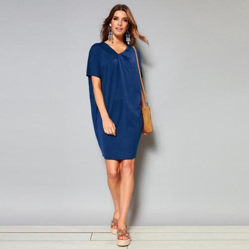 c58f1e12534c 3 SUISSES - Robe courte manches courtes noeud encolure femme - Bleu Encre - Robes  de