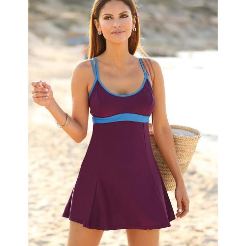 3 Suisses - Maillot de bain robe élastique sous poitrine femme Exclusivité  3SUISSES - Violet - 0cd8ebaed060