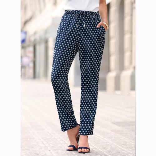 59e996b63402 3 SUISSES - Pantalon imprimé taille élastique et cordon femme - Imprimé Bleu  Marine - Pantalons