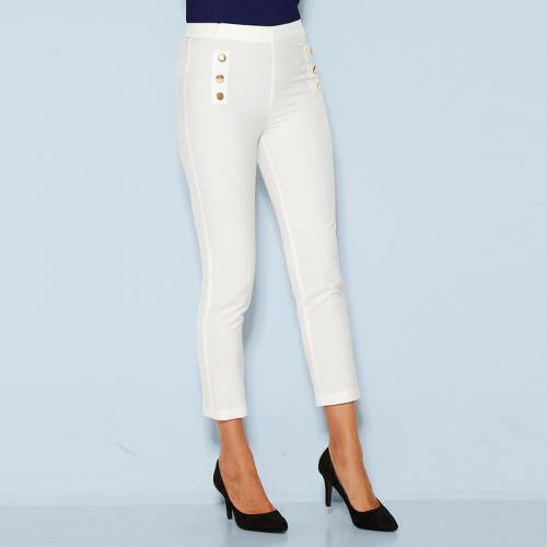e4236616fe3 3 SUISSES - Pantalon taille élastique boutons fantaisie femme - écru -  Pantalons larges femme