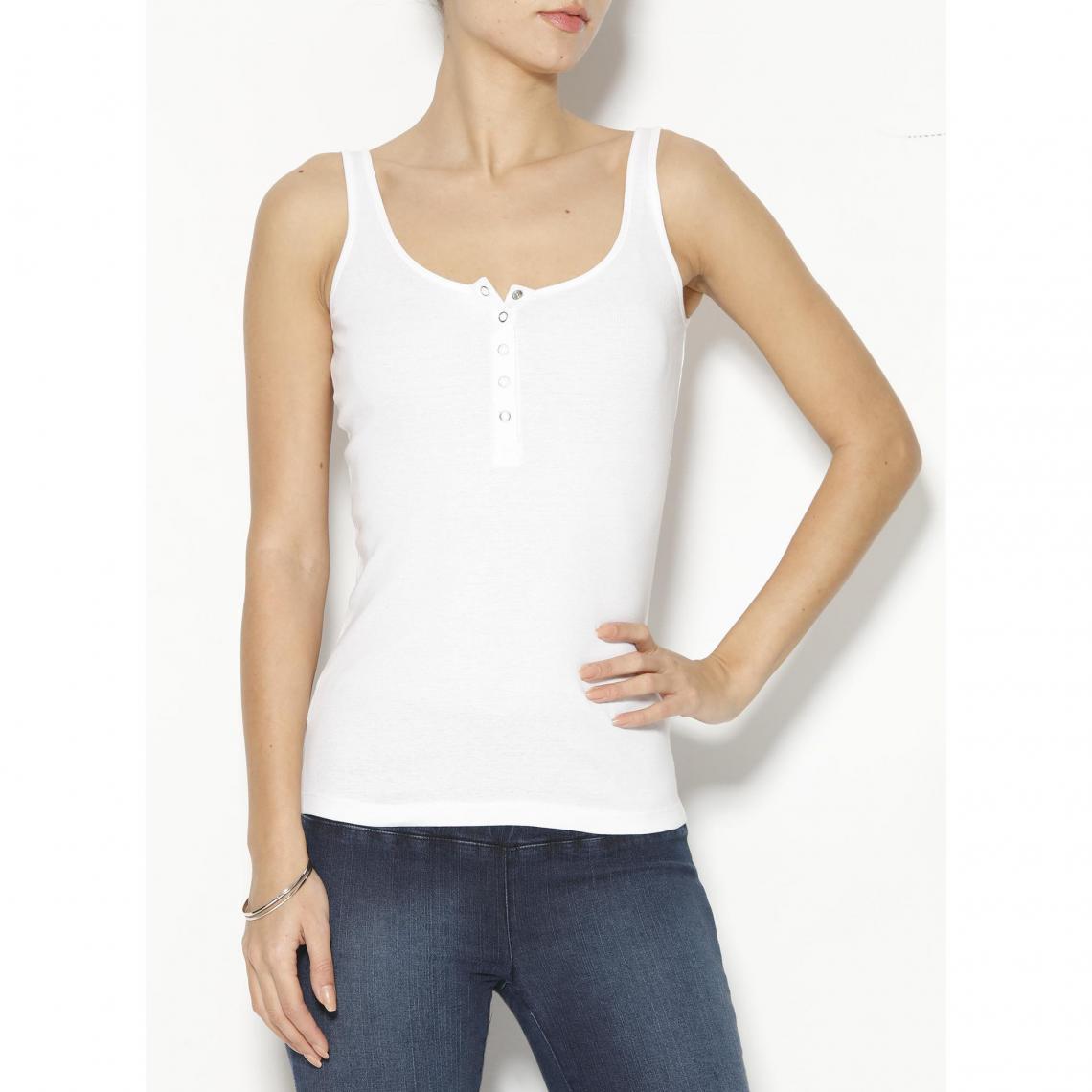 Tee-shirt à bretelles col rond à pressions femme - Blanc wFoLU