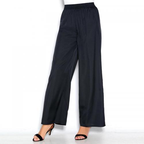 f99c46708067b 3 Suisses - Pantalon large uni taille élastique froncée femme Exclusivité  3SUISSES - Noir - Pantalons
