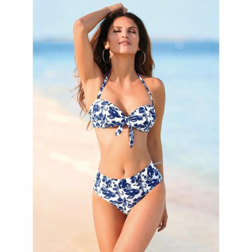 3 SUISSES - Bikini imprimé bandeau et culotte haute femme Exclusivité  3SUISSES - Imprimé Bleu Marine b4d7bb61462
