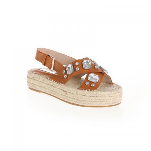 6671899daccf77 3 SUISSES - Sandales bandes croisées dessus avec pierres femme - Marron -  Chaussures femme