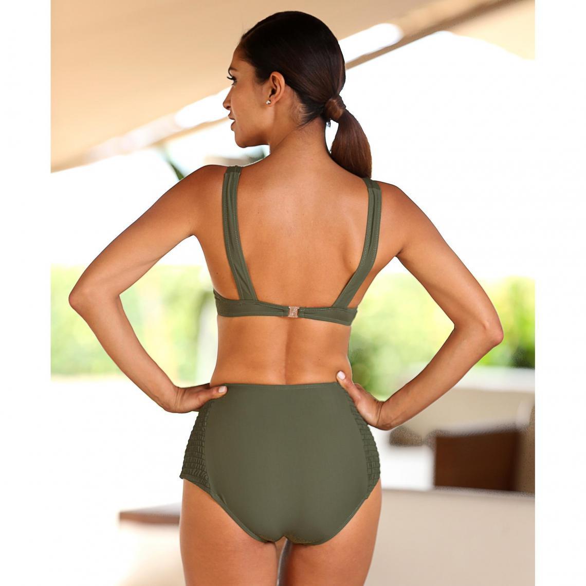 regard détaillé 96b20 8c77c Bikini armatures culotte haute nid d'abeille femme - Vert ...
