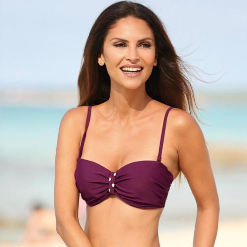06fc2e6ae61 3 SUISSES - Haut de bikini bandeau uni détails à pois femme - Lilas - Promos
