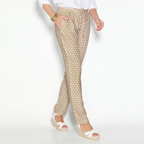 3 SUISSES - Pantalon imprimé taille élastique et cordon femme Exclusivité  3SUISSES - Imprimé Beige - 80c905dd67c