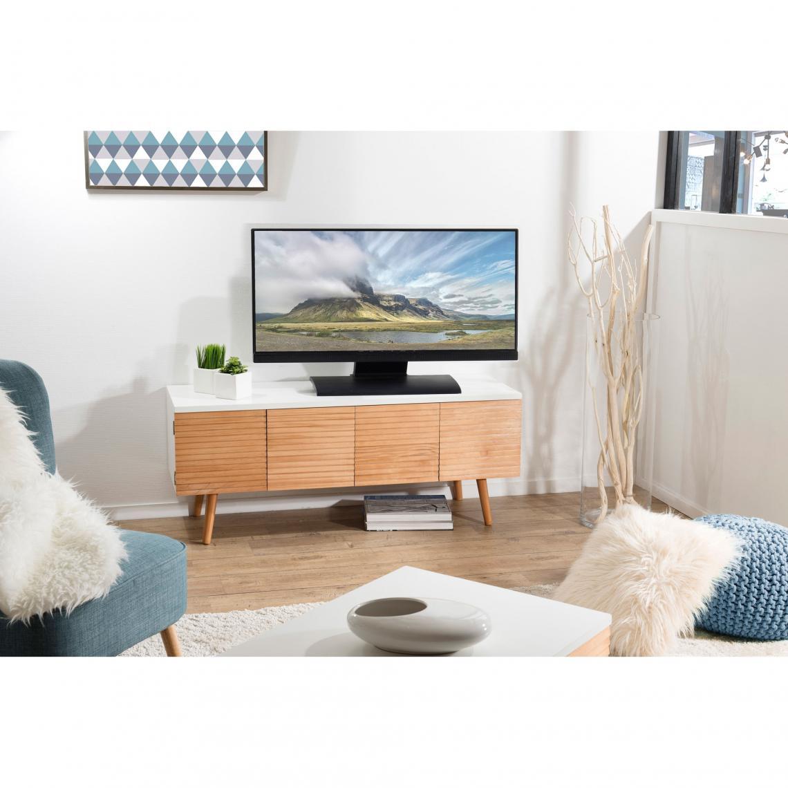 Meuble Tv 4 Portes Style Scandinave Miel Blanc 3 Suisses