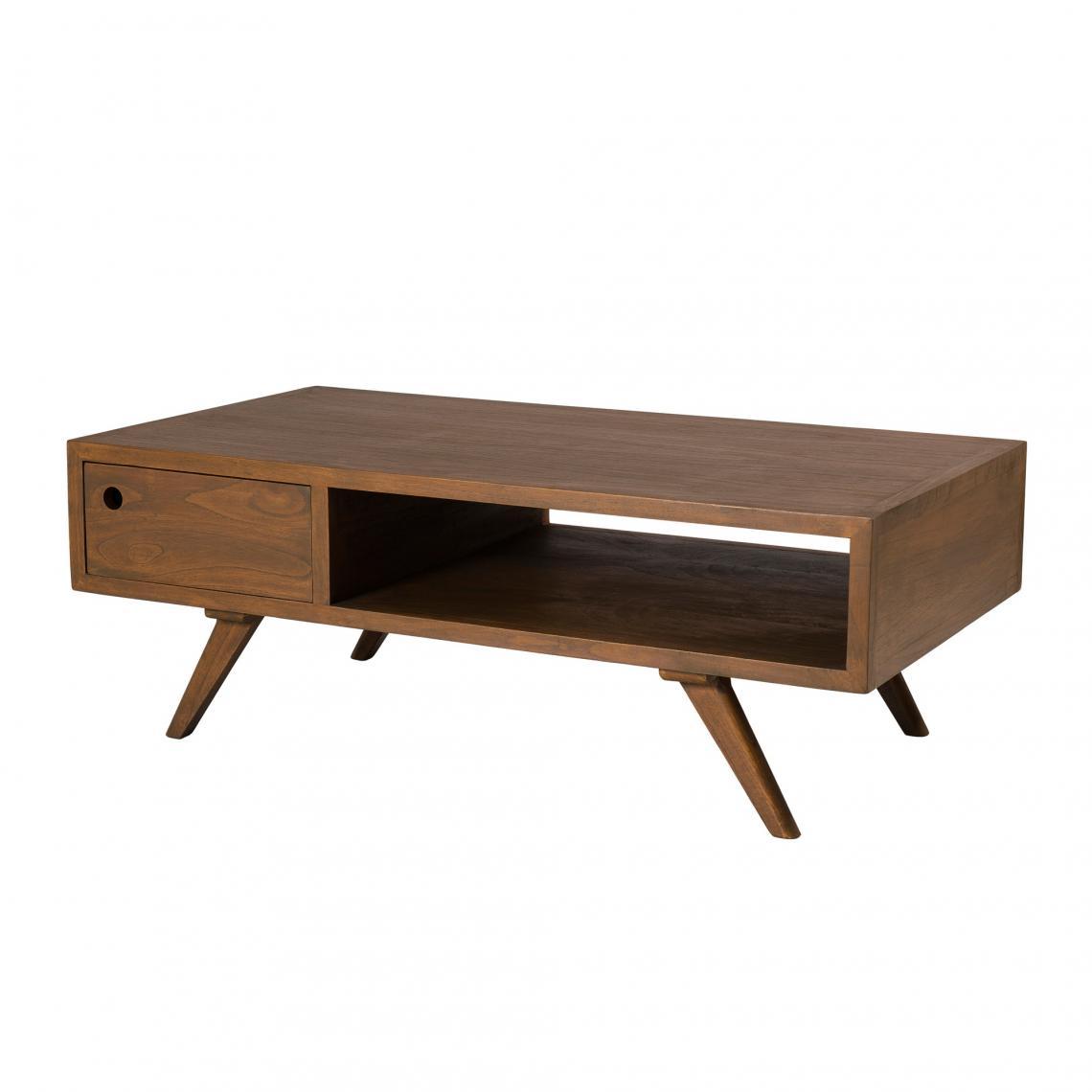 Table Basse 1 Tiroir Double Style Scandinave Cannelle