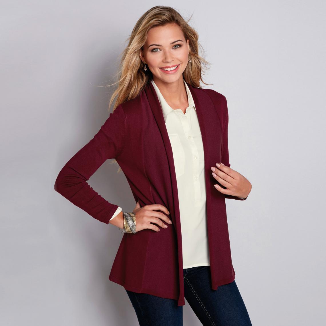 nouveau authentique remise pour vente moderne et élégant à la mode Gilet manches longues femme - Rouge Grenat 16 Avis