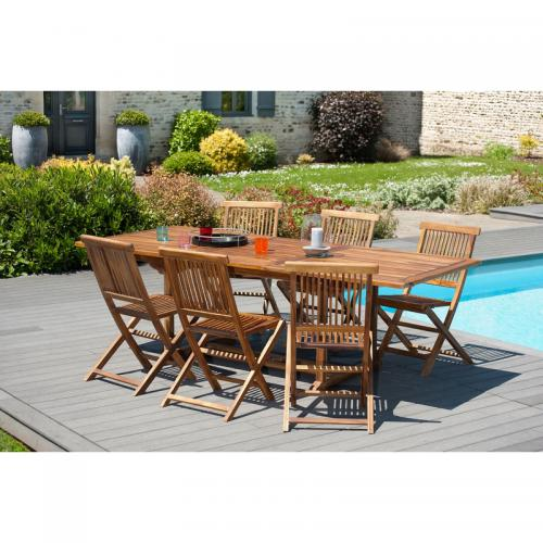 MACABANE - Ensemble table rectangulaire extensible + 6 chaises pliantes en teck huilé Java - Teck - Ensemble table, chaise