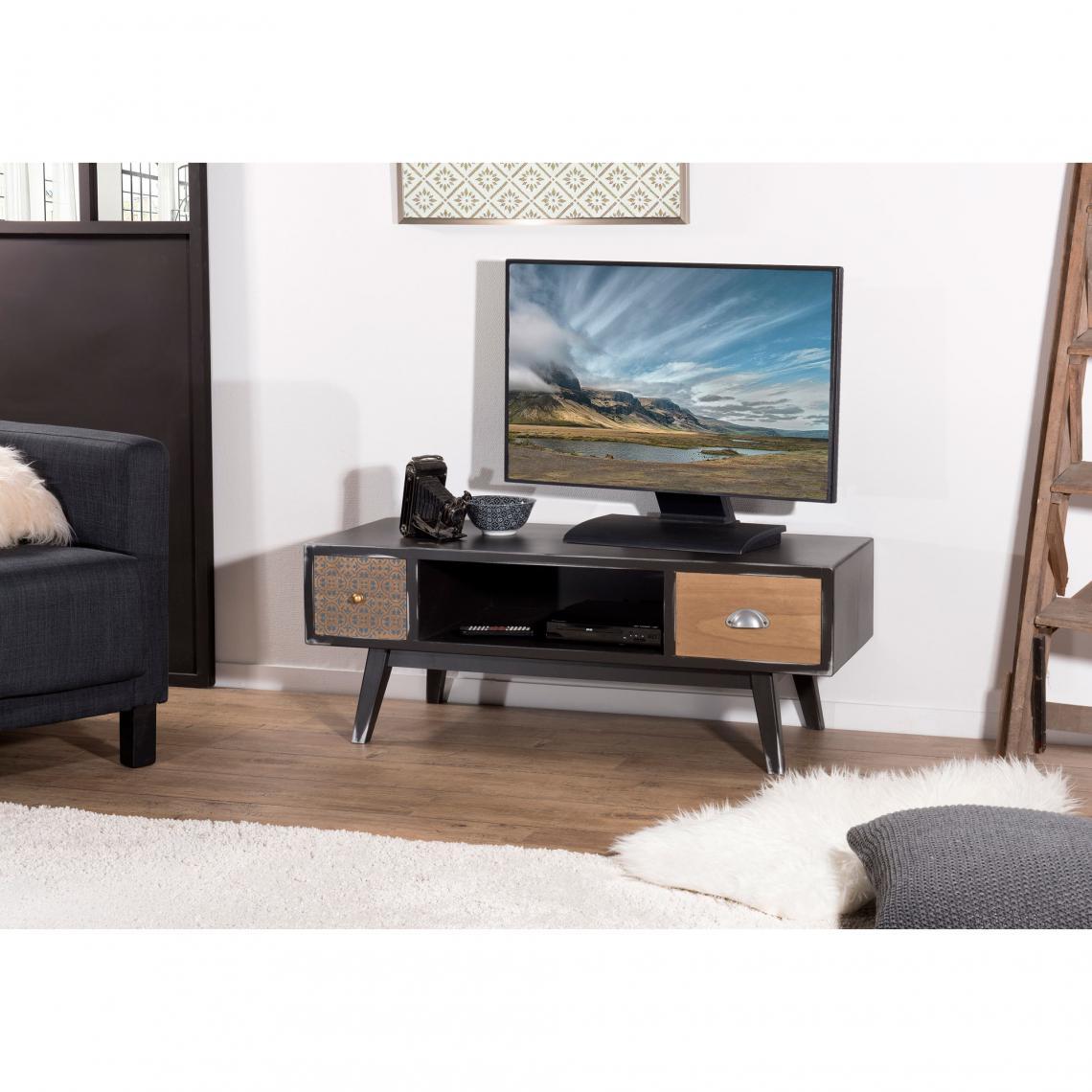 Meuble Tv 1 Niche 2 Tiroirs Style Scandinave Et Industriel Noir