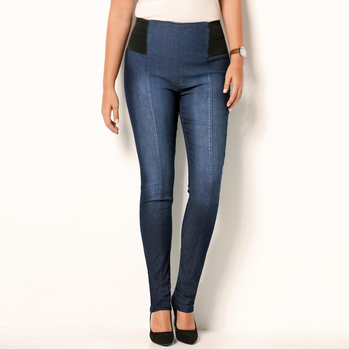 Tregging en jean élastiques à la taille - Bleu - 3 SUISSES - Modalova