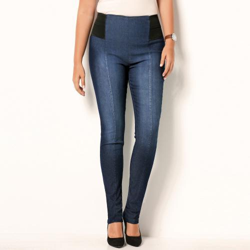 09fed2c1d5c 3 SUISSES - Tregging en jean élastiques à la taille femme - Bleu - Leggings  femme