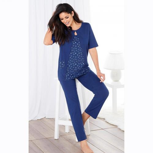 73359006da77e 3 SUISSES - Pyjama tee-shirt effet 2 en 1 pantalon uni femme - Bleu
