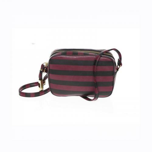 e32a00e01a 3 SUISSES - Sac à main rayé bandoulière ajustable femme - Rouge - Noir - Sac
