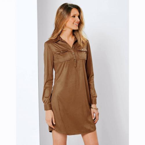 3 SUISSES - Robe courte col chemise manches longues femme Exclusivité  3SUISSES - Marron - Promos b9536095f6d