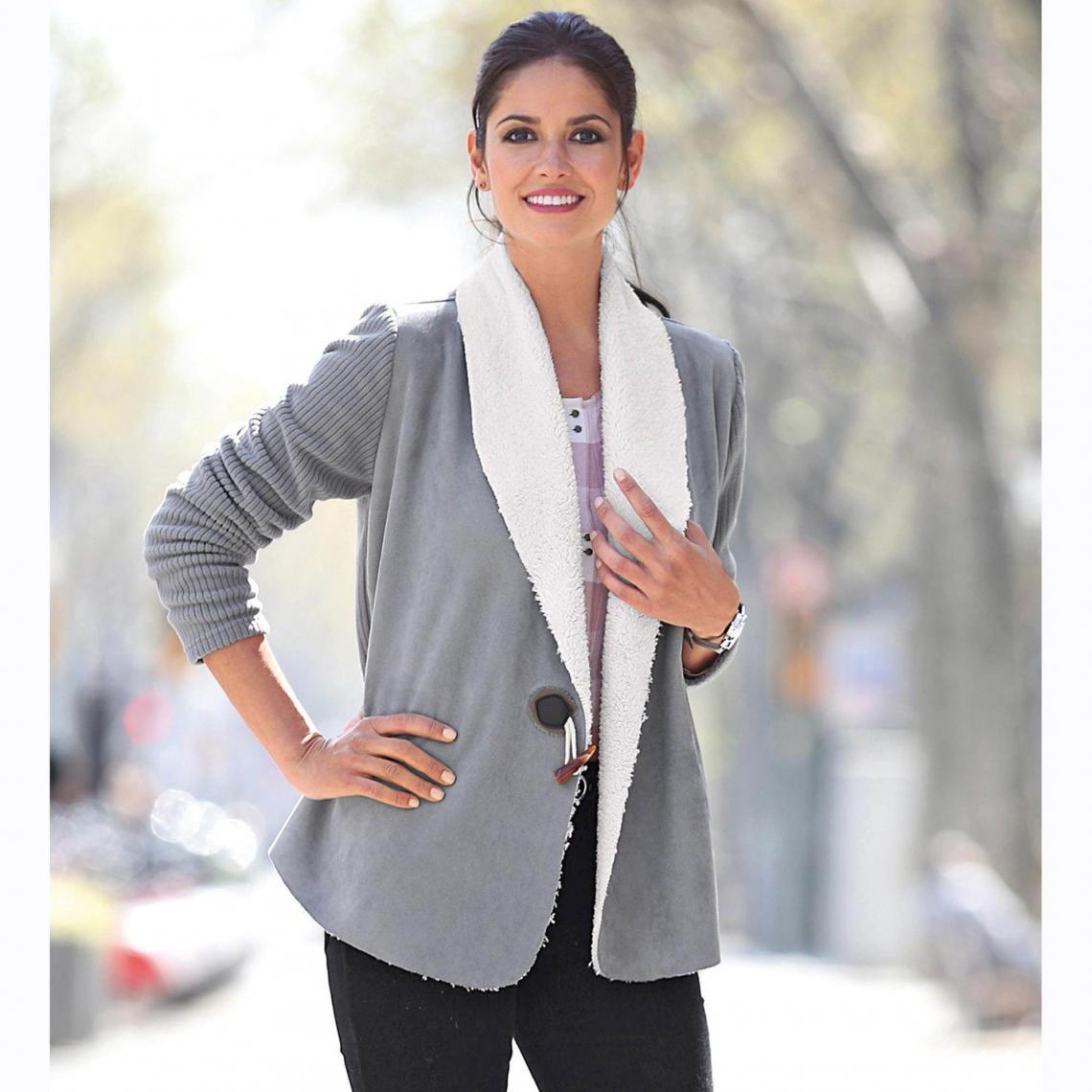 c2d823d0d1610 Veste manches longues fourrure synthétique manches tricot femme Exclusivité  3SUISSES - Gris Perle 3 Suisses Femme