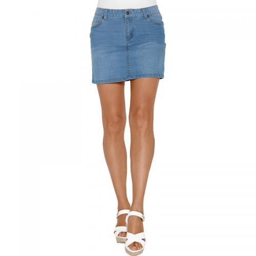 3 Suisses - Jupe courte en jean coupe 5 poches femme Exclusivité 3SUISSES -  Bleu - 7b86f44efa31
