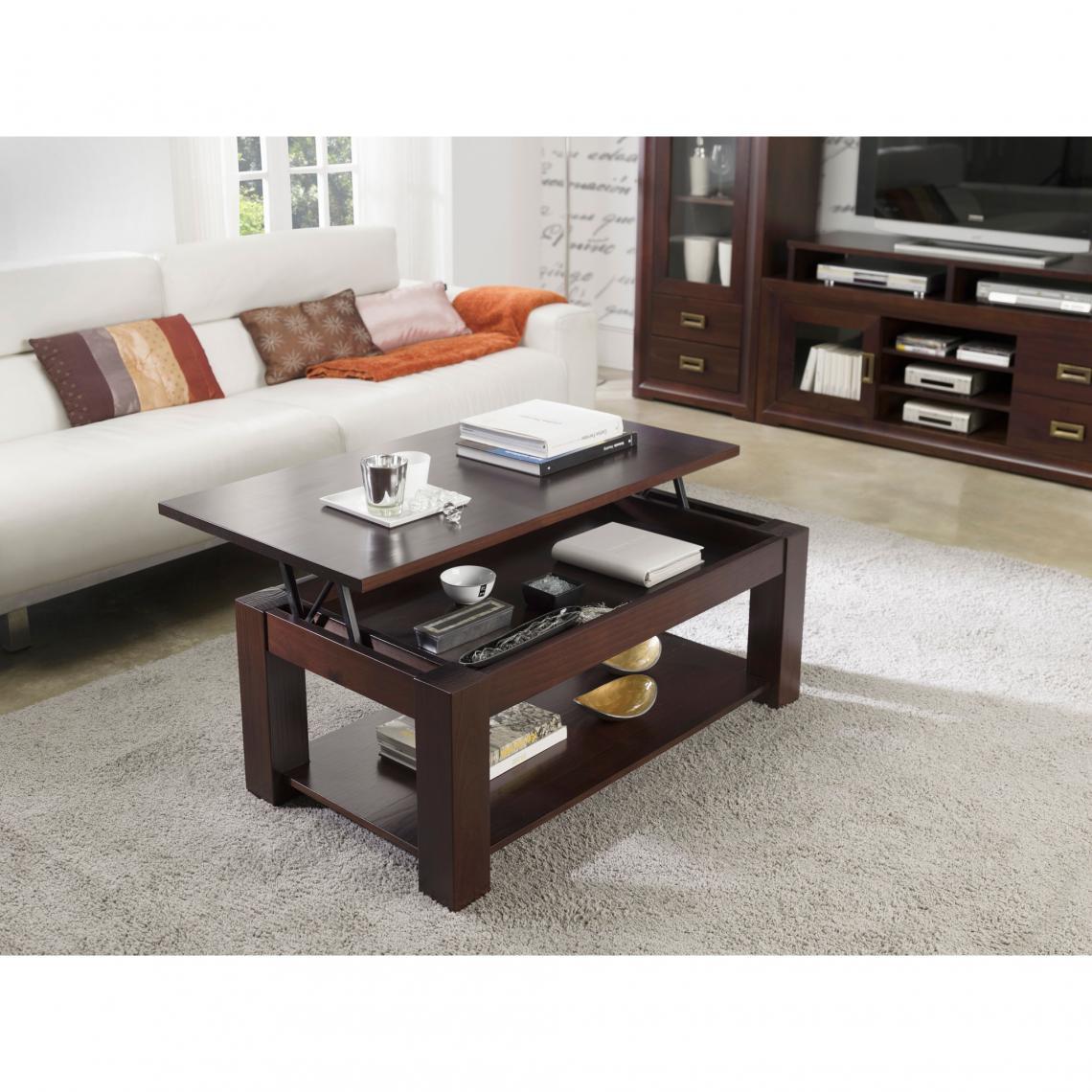 Table Basse Elevable Plateau Verre 110 Cm Verona Teinté Noyer 3