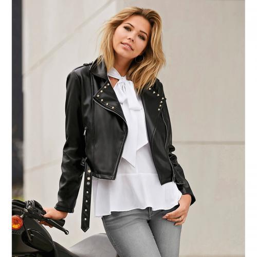 3 Suisses - Blouson avec zip oblique ceinture et décorations femme  Exclusivité 3SUISSES - Noir - 04e20216231