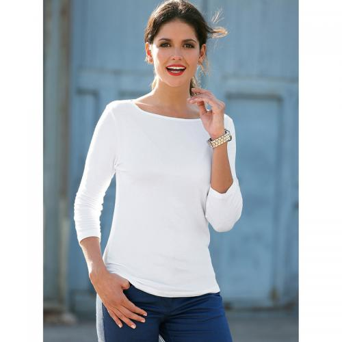 3 SUISSES - Tee-shirt col bateau manches 3/4 femme - Blanc - Mode Grande Taille