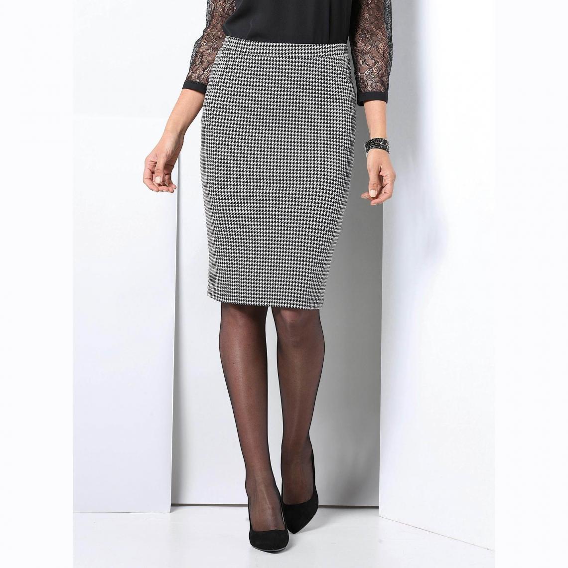 88fb4d5b682c29 Jupe crayon courte taille élastique femme - Écru - Noir | 3 SUISSES