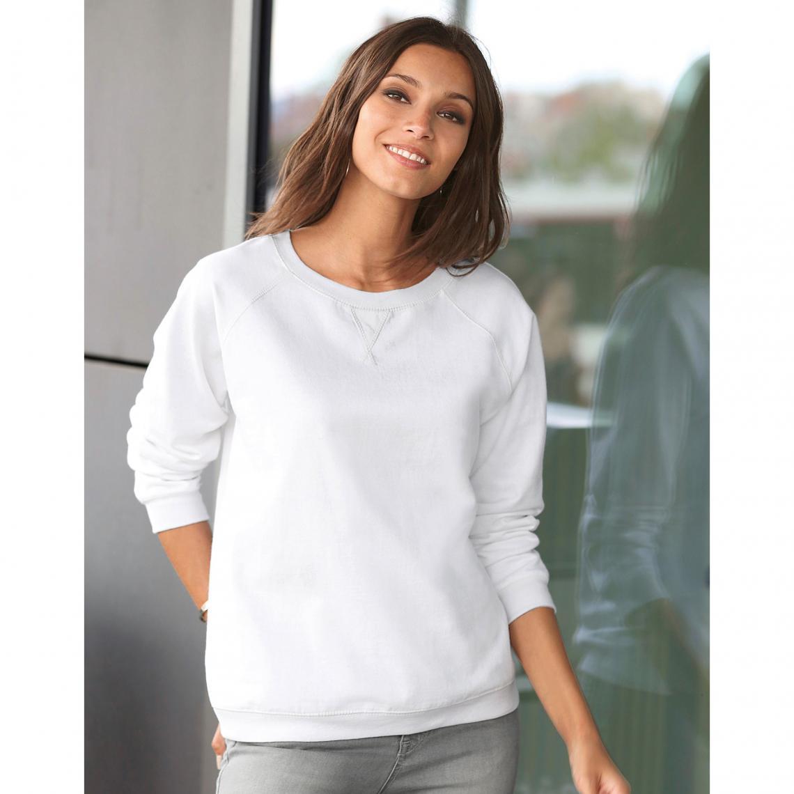 Sweat manches longues finitions bords-côtes femme Exclusivité 3SUISSES -  Blanc 3 Suisses Femme 17c036702d63