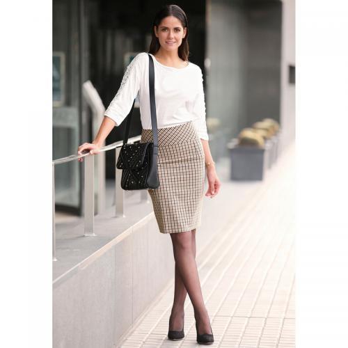 16d7db2791c4 3 SUISSES - Jupe à carreaux coupe crayon fente dos femme - Carreaux Noir -  Jupes