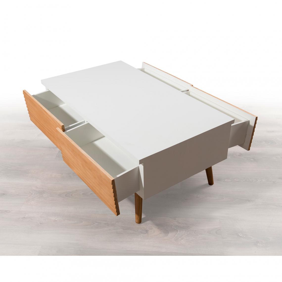 Table Basse 4 Tiroirs Style Scandinave Miel Blanc