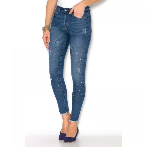 5b636d7d7785 3 Suisses - Jean avec punaises aspect déchiré et effiloché femme  Exclusivité 3SUISSES - Bleu -