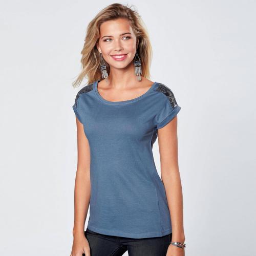 3 SUISSES - Tee-shirt manches courtes sequins devant femme Exclusivité  3SUISSES - Bleu - 6074f113117