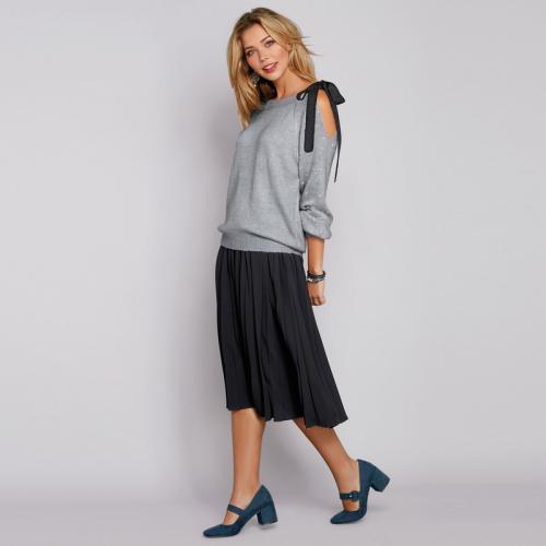 881c3c6c98bd 3 SUISSES - Jupe mi-longue plissée taille élastique dos femme - Noir - Jupes