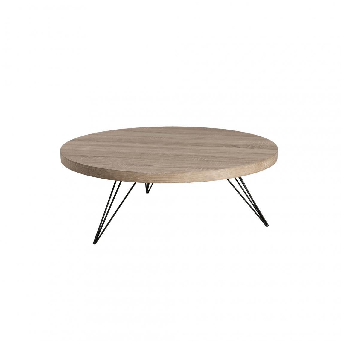 table basse ronde pieds pingle en m tal scandi naturel. Black Bedroom Furniture Sets. Home Design Ideas