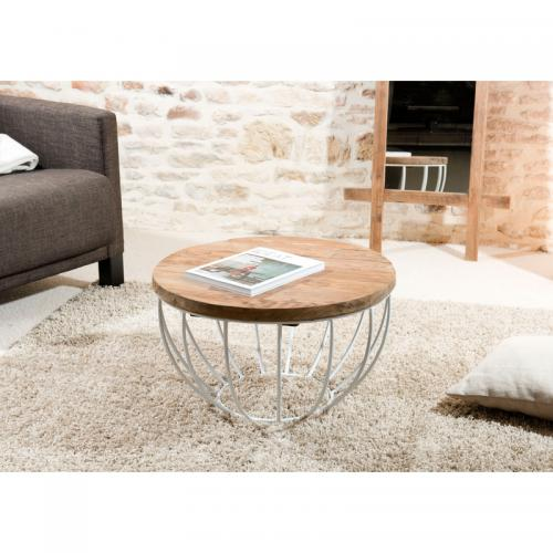 MACABANE - Table basse en teck recyclé - Blanc - Table basse