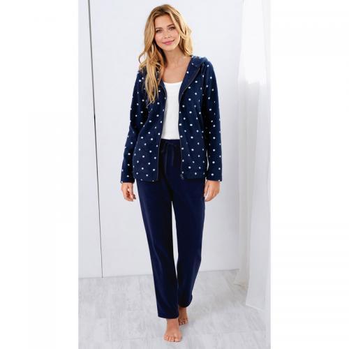 5d062076199d5 3 SUISSES - Pantalon polaire taille élastique cordon de serrage et poches  femme - Bleu Marine