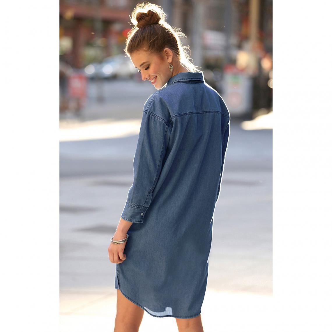 9831fce13d2 Robe-chemise en jean manches longues broderie femme - Bleu