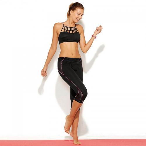 3 Suisses - Legging corsaire de sport biais contrastés femme Exclusivité  3SUISSES - Noir - Shorts da2c42c75357