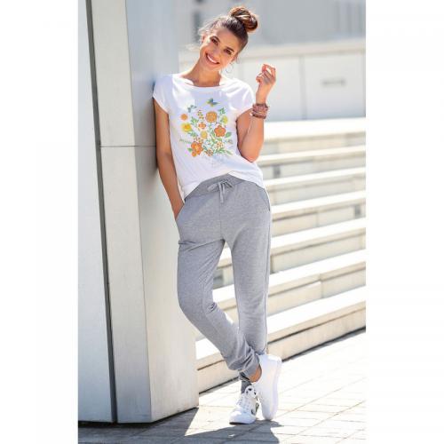 3 SUISSES - Pantalon taille et bas élastiqués et cordon femme Exclusivité  3SUISSES - gris chiné b33e37b3cd8