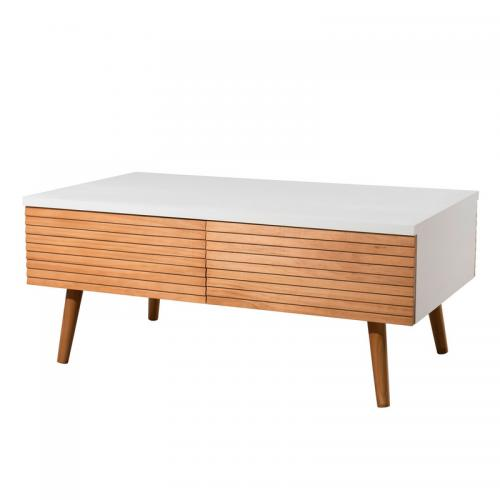 Macabane - Table basse 4 tiroirs scandinave - miel / blanc - Le salon