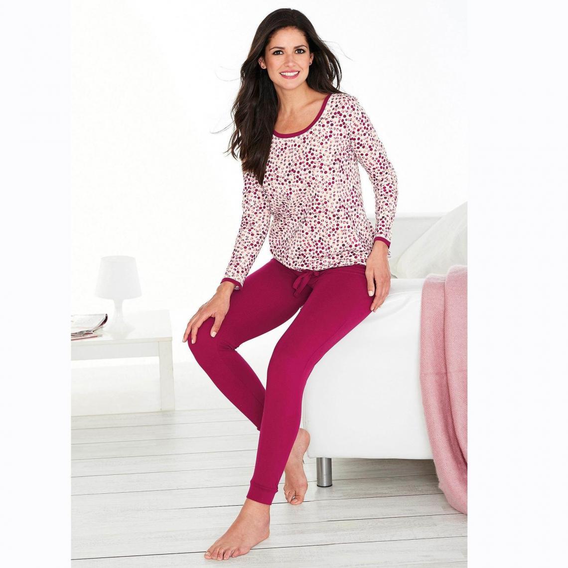 48a99950d703b Pyjama manches longues pantalon uni femme - Imprimé Rose Framboise ...
